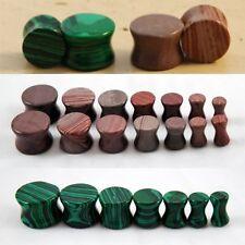 2 Pairs of Gemstone Semi Precious Stone Ear Plugs Synthetic Malachite & Mudline