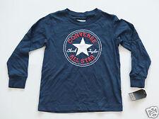 NUOVO ALL STAR CONVERSE maniche lunghe Maglietta ragazzo bambini Blu Logo Tondo