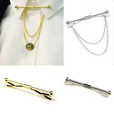 Men's Shirt Collar Pin Chain Tie Bar Brooch Accessories Men Gift Silver Gold