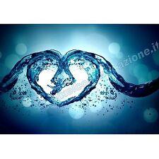 QUADRI MODERNI POSTER ARREDO DESIGN ASTRATTO ACQUA LOVE WATER HEART FRESH