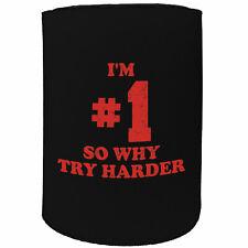 Stubby Holder - im 1 why try harder - Funny Novelty Birthday Stubbie
