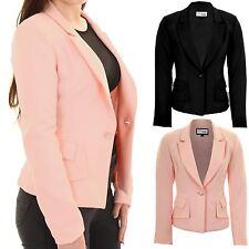 Ladies Padded Shoulders Lined Elegant Smart Low V Neck Office Jacket Blazer