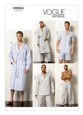 V8964 VOGUE 8964 Sewing Pattern Men's Sleepwear Robe Top Shorts Pants Pajamas