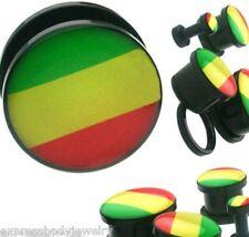 Pair Black Rasta Screw Ear Plugs-Gauges-Piercings Green Yellow Red  Acrylic