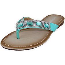 New women's shoes low heel summer t strap slip on rhinestones sandals blue