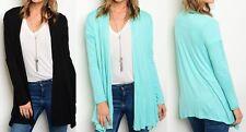 Long Sleeve Open Drape Front Cardigan/Cover-Up Tunic Top S M L Black Aqua Mint