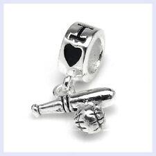925 Sterling Silver Sport I Love Baseball Ball Bead for European Charm Bracelet