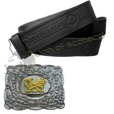 Highland Kilt Belt Celtic Embossed Black Leather Scottish Buckles Welsh Dragon