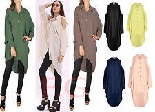 Womens Ladies Chiffon Off Shoulder Long Sleeve Collar Cut Out T Shirt Top Blouse