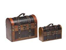 2x suitcase wooden case wooden antique trunks nostalgic suitcase treasure chest