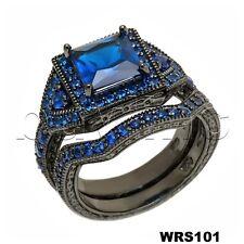 Princess Cut Blue Sapphire Black 925 Silver Bridal Engagement & Wedding Ring Set