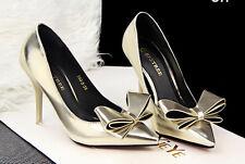 Décollte Zapatos de salón mujer tacón aguja talón 10 cm mode oro brillante 8560