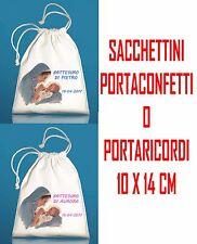10pz SACCHETTI PORTACONFETTI BOMBONIERA Battesimo MADONNA Bambino personalizzati