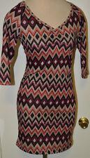 8efa311ce10 Ladies Rue 21 3 4 Sleeve Multi Color Geo Mini Dress Tunic Top Sizes XS