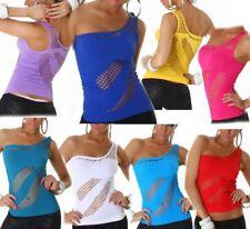 Sexy señora red agujero camisa elástica one shoulder top 34/36 M/L 36/38 L/XL 38/40