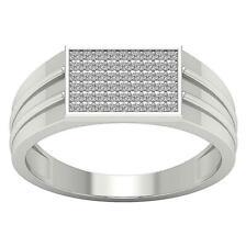 Men's Wedding Ring I1 G 0.40 Ct Round Cut Diamond Pave Set 14K Solid White Gold