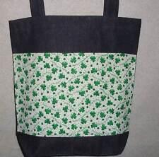NEW Handmade Large St Patricks Day Shamrock Glitter Denim Tote Bag