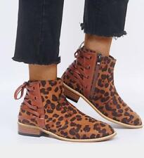 Womens Ladies Fashion Faux Suede Lace Up Zipper Bikers Ankle Boots Shoes FK15
