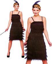 Adult Black CHARLESTON JAZZY FLAPPER Long Fancy Dress Ladies Costume UK 6-24