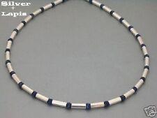 925 Silber Kette Collier Lapiz Lapis Lazuli  Damen Herren Halskette