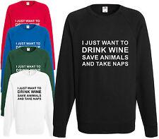 Mi limiterò a bere vino salvare gli animali e prendere PAN Felpa Maglione HIPSTER