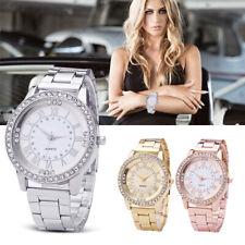 modische Damen Armbanduhr mit Strass Steinen und Metall Armband Uhr Uhren Watch