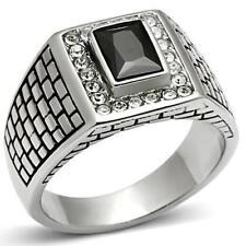 494 SIGNET JET MENS SIMULATED DIAMOND MANS RING STAINLESS STEEL 316L BLACK NEW