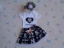 New York Yankees Baby Girl Skirt, Personalized Bodysuit and Headband.
