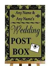 Olive Black Damask Post Box Personalised Wedding Sign