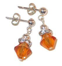 TOPAZ Crystal NOVEMBER Birthstone Earrings 8m Sterling Silver Swarovski Elements