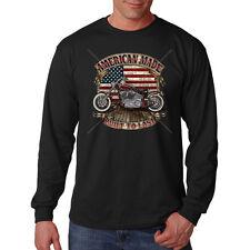 American Made Built To Last Motorcycle Chopper Biker USA Long Sleeve T-Shirt