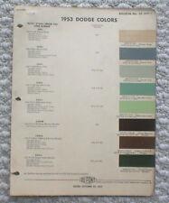 1953 DODGE Color Chip Paint Sample Chart Brochure:Dpont