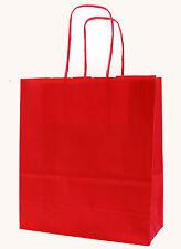 cerise rouge papier Sacs de transport avec TORDUE POIGNÉES - Taille : 25 x 18 8