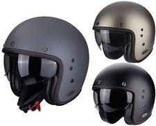 Scorpion Belfast Solid Casco Jet Negro Titanio Mate para Motocicleta con Parasol