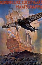 """Vintage KLM """"Flying Dutchman"""" Travel Poster 1930's"""