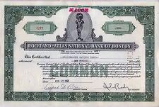 Rockland Atlas National Bank of Boston Stock Certificate