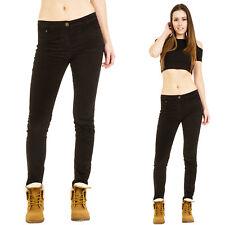 Nuevo para mujer Slim Delgado Elastizado Cordones Negro Terciopelo Pantalones De Pana Pantalones Jeans