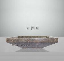 Marble Stone Sink Bathroom Countertop Vessel Rectangular Basin Vanity Wash Grey