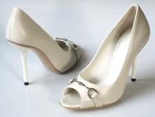 new $650 GUCCI mystic white horsebit logo heels open-toe shoes - wedding
