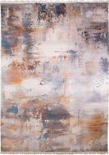 Gray Multi-Color Modern Area Rug Cotton Fringe Edge Abstract Rug Carpet