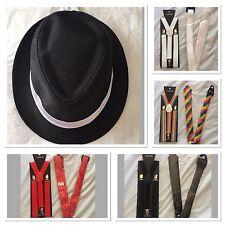 1920's Mafia Fancy Dress Costume Set Gangster Hat Suspenders Tie Party