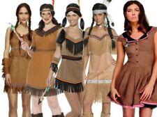 Da Donna Rosso Indiano Pocahontas Nativi Americani Selvaggio West Vestito UK
