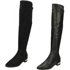 Donna Nero Spot On Stivali al ginocchio con tacco a perla F50858
