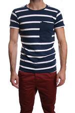 Humor Vio Thin Stripe Marl Fleck T-Shirt in Dress Blues RRP £35 SALE