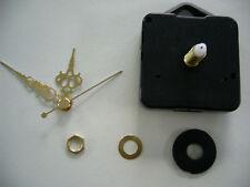 CLOCK MOVEMENT QUARTZ LONG SPINDLE. 50mm GOLD HANDS