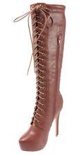 BellaMarie Helena-102 Almond Toe Lace-up Mid-calf Platform High Heel Dress Boots