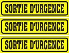 LOT DE 3 AUTOCOLLANTS LUSTRÉ, SORTIE D'URGENCE, POUR INTÉRIEUR OU EXTÉRIEUR