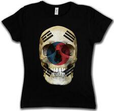 Classic south Corée skull Flag t-shirt Femmes-tete de mort crâne drapeau Corée du sud