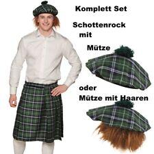 KILT SCHOTTENROCK GRÜN KARIERT MIT KAPPE und Haar oder ohne - Schotte Hut Mütze