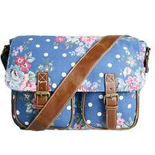 Navy Floral Dot Womens Canvas Satchel Handbag Cross Body Girls School Bag